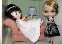 BaD:  4th Feb 2017 - Lace (Calendar girl 48 / grannygreen) Tags: blythedolls lizzie twiggy badfeb2017 lace wedding blackwhite sofa