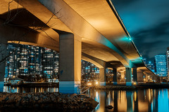 The Cambie Bridge Night View (little_stephy0925) Tags: fujifilm fuji fujixt2 xt2 fujinon1655mm fuji1655mm vancouver bc britishcolumbia canada thecambiebridge cambiebridge vancity falsecreek olympicvillage longexposure nightphotography bridge architecturephotography