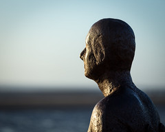 Watching the sun go down again (SiKenyonImages) Tags: goldenhour anotherplace crosbybeach sunset bronze statue iron alone figure depthoffield