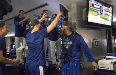 Shower for David Price  (LottOnBaseball) Tags: toronto baseball champagne bluejays playoffs jays mlb rogerscentre postseason davidprice aaronsanchez robertoosuna kevinpillar