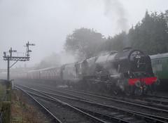 Morning Scot (70C Photography) Tags: morning autumn misty canon br shropshire outdoor trains steam september 7d 1785mm railways gala severnvalleyrailway bridgnorth 2015 royalscot 46100 jamescummins