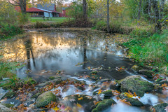 Add lots of leaves, then stir slowly. (tquist24) Tags: longexposure autumn sunset reflection fall leaves reflections river bristol geotagged waterfall leaf nikon rocks unitedstates dam indiana hdr bonneyvillemillcountypark littleelkhartriver nikond5300