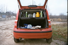 trunk designed for adventures (marhef) Tags: trip winter red analog panda fiat trunk thermos kashubia
