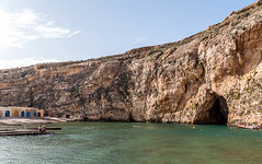 Cave and Lagoon at the Azure Window (swordscookie) Tags: sea sun swimming boats divers rocks mediterranean waves arch exploring scuba diving malta lagoon huts ribs cave swell skinnydipping gozo seacave azurewindow selfies
