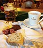 Bavarian post-hike snack (ekelly80) Tags: germany bavaria königssee december2016 berchtesgadennationalpark mountains alps snack posthike beer glühwein bread sausage cheese bavarian