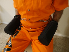 P1020885 (boblaly) Tags: prison prisoner handcuffs handcuffed chain cuffed cuffs chained chains convict locked secure shackled shackles padlock belly belt tubes restraints restrained arrested arrest uniform jumpsuit detention inmate jail