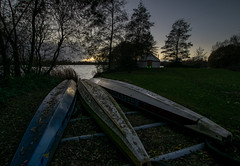 Packed up for winter (Russell Discombe) Tags: winter sunset lakes canoe canoes tree water landscape le night nikon nikond3300 sigma1020mm gloucestershire southcerney sport
