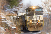 NS 287 @ Unadilla, NY (Mathieu Tremblay) Tags: unadilla newyork unitedstates ns norfolk southern railroad railway chemin fer freight line dh delaware hudson train locomotive ge general electric c409w d940cw 9733 287 rock cut snow neige sony a77 sal70300g