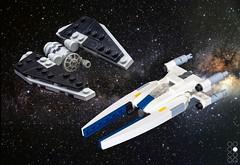 Tie Striker & U-Wing [micro] (Cole Blaq) Tags: blocksmagazine brick bricks coleblaq commission lego miscoscale popculture rebels scifi space spaceship starfighter starwars