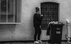 Backs To The Wind For A Fag Break (IAN GARDNER PHOTOGRAPHY) Tags: street hairdresser cigarette smoking break
