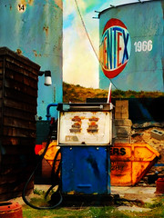 Jentex Lives Again (Steve Taylor (Photography)) Tags: jentex ramsgate fuel pump skip shed digital art blue orange white red metal block uk gb england greatbritain unitedkingdom distributor oil silo supplier tank