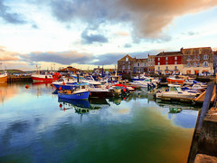 Early Evening, Padstow Harbour (photphobia) Tags: padstow cornwall town uk boat boats water harbour haven oldtown oldwivestale outdoor outside sky perspective reflection waterfront tug barge ship evening dusk earlyevening lamps lamplight streetlamps cloud skyline sea