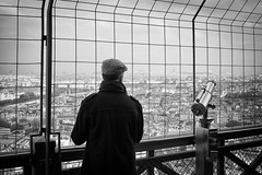 experiencing thoughts... (Vladimir Barvinek) Tags: viewpoint view tower eiffel latoureiffel telescope mind experiencing thoughts peace relax pause paris france blackandwhite