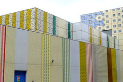 Utility building with colored patterns next to Edgware Road Tube station, London (Winfried Scheuer) Tags: pattern facade architecture box utility electric surface color naiv primitiv muster decoration theatre stage complexity linear lines vertical direction yellow white red green blue imitation wallpaper artificial kunst künstlich avantgarde modular enamel emeil camera surveillance door alienating angular square chiffon weiss energy substation