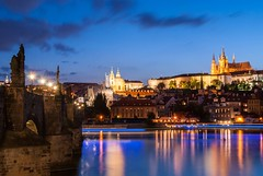 Prague (dressk) Tags: prague europe city travel czech republic czechrepublic architecture charles bridge charlesbridge karluv most karlův vltava river blue hour bluehour nikon d40x nikond40x summer castle