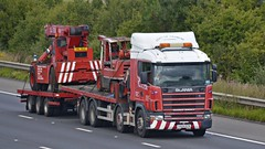Y424 ECN (panmanstan) Tags: truck wagon motorway m18 yorkshire transport lorry commercial vehicle freight scania flatbed langham haulage hgv drawbar 124l
