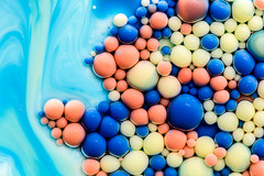 Better Photography Through Chemistry - 21 (MorboKat) Tags: blue orange abstract color colour detail macro texture colors yellow ball intense colorful colours bright teal azure bubbles chemistry round bubble planet colourful liquid chemical reaction liquidart