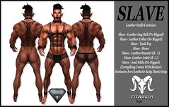 Slave - Leather Outfit (Lito Titanium) Tags: girls wild man black male men ass face tattoo outfit top anal smith bull enzo boxer shape exclusive dildo hombre homme slave aesthetic fitmesh