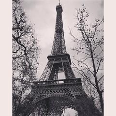 Eiffel tower (Dersuusala) Tags: blackandwhite bw france architecture eiffeltower eiffel pars iphone