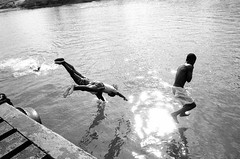 Two boys jump into the water, Havana, Cuba