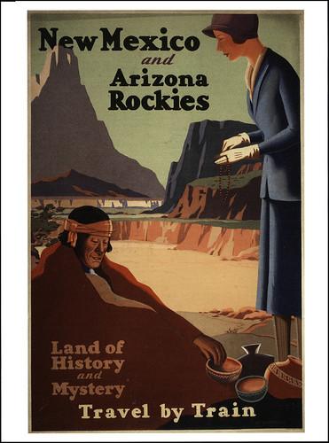 postcard - NM & AZ Rockies Travel Poster