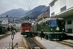 Furak Oberalp HGe 4/4 37 und RhB Ge 4/4 II 612 Disentis, 22.06.1974 (Tramfan2011) Tags: schweiz swiss berge fo mgb rhb oberalp furka zahnradbahn rhtischebahn furkaoberalp