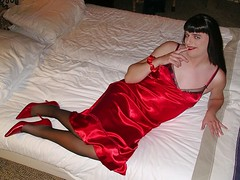 Sexy in satin (Paula Satijn) Tags: red hot sexy stockings girl bed pumps legs silk tgirl transvestite heels slip satin gurl silky nightgown nightdress nightie