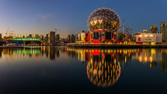 False Creek Panoramic (Sworldguy) Tags: reflections scienceworld bcplacestadium downtown falsecreek water landscape landmark bluehour colourful britishcolumbia bc nikon d7000 dslr dock geodesic vancouver skyline waterfront night dusk sunset bright city serene architecture