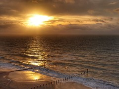 Before Storm Barbara (Nick Fewings 4.5 Million Views) Tags: landscape golden sun gold morning nickfewings groyne storm waves clouds sunrise beach sea seaside uk dorset bournemouth southbourne