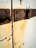 Unhinged (S's images) Tags: seaside street art graffiti abstract paint rusted hinge white peeling door