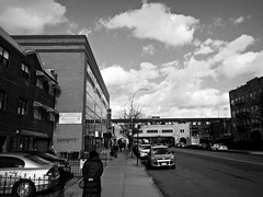 Bay Parkway (Robert S. Photography) Tags: bayparkway street walking people winter sky clouds brooklyn distance subway buildings oldnew bw newyorkcity nikon coolpix l340 iso200 january 2017