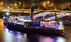 Floating Restaurant (dolbinator1000) Tags: tatters hall castle float floating restaurant embankment london city center centre river thames tourist attraction water long exposure night dark light dusk twilight reflect reflects reflecting reflection reflections boat ship