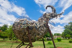 "This elephant sculpture in the city center is made of trash, plastic bags and recycled bottles.  Livingstone. Zambia  Dec 2016 • <a style=""font-size:0.8em;"" href=""http://www.flickr.com/photos/147943715@N05/31437764591/"" target=""_blank"">View on Flickr</a>"