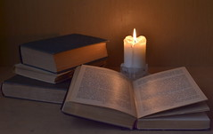 evening, candle and old books (beard174) Tags: evening retro fire vintage book flame candle art candlestick old paper history traditional candlelight burn tradition texture age frame page wisdom knowledge light wax