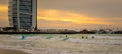 Dubai Surfing (phillip.gerlach) Tags: dxb dubai surfing picoftheday colorful beach waves mood burjalarab sunset mydubai jumeirahbeach