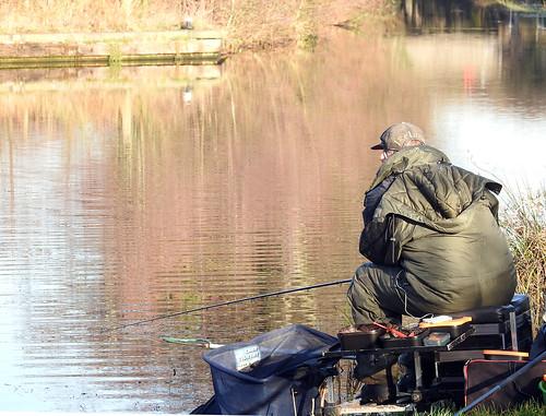 Fishing, Bevan's Lane Marina, Monmouthshire-Brecon Canal, Pontrhydyrun, Pontnewydd, Cwmbran 28 December 2016