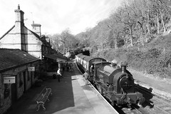2682-17 (Ian R. Simpson) Tags: 2682 princess bagnall steam locomotive train lakesidehaverthwaiterailway loco engine bw