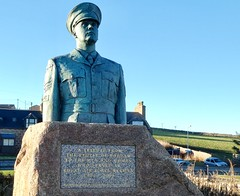 RAF Buchan Boddam Statue Commemorates RAF Buchan Over 52 Years  Of Service - Located At Boddam Just Outside Peterhead Scotland . (Dano-Photography) Tags: blue sky skyblue sculpture flying servicewoman serviceman tribute rafofficer rafuniform legends metalsculpture metalart pilot rip godbless thankyou neverforget heroes respect remoteradarhead lumix hiddenaberdeen aberdeenscotland aberdeenshire boddamcommunity royalairforce granite airman walterawlson rafbuchan rafboddam urbanart publicart bronzesculpture publicsculpture monument raf peterhead boddam 2017 panasoniccamera dano royalairforcebuchan
