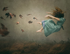 The Tempest (R. Keith Clontz) Tags: visualiphotography conceptualart fantasy rkeithclontz leahspitz girlflying windblownleaves windy blowingleaves blowinginthewind moody stormy storybook painterly classic painting oldworld