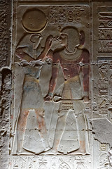 Wall Relief of Khonsu and Seti I (Chris Irie) Tags: egypt abydos seti temple relief khonsu