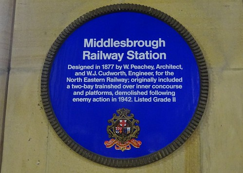 Middlesbrough Railway Station Blue Plaque