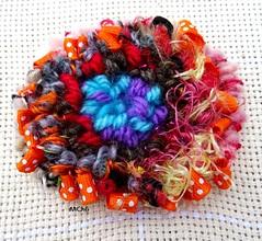 17-02-13 MChG (FibreFantaisie) Tags: textilejewellery broche bijoutextile ruban lainesoie orange turquoise