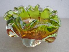 Vintage Chribska Czech / Bohemian Art Glass Bowl Amber & Green Designed By Josef Hospodka (beetle2001cybergreen) Tags: vintage chribska czech bohemian art glass bowl amber green designed by josef hospodka