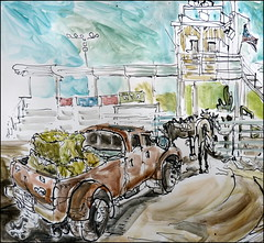 Truck Load of Hay (Kerry Niemann) Tags: apachejunction inkandwatercolor superstitionmountainranchrodeo