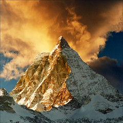 Golden peak (Katarina 2353) Tags: travel winter sunset film landscape switzerland swiss famous peak zermatt matterhorn montagna katarinastefanovic katarina2353