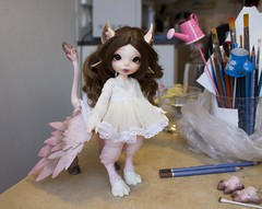 Painting the wings (~Akara~) Tags: faceup face up body blushing pastels realfee real fee rlf mari custom modded mod fairyland fairy land fl fairyline rus hippogriff painted