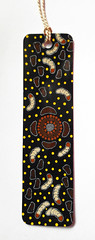 Australian bookmark 2 (tengds) Tags: australianbookmark australia aboriginalart campsite grubs black white brown yellow dots yellowdots wichettygrubs tengds bookmark