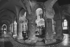 12thC Norman/Romanesque east ambulatory - Priory Church of St Bartholomew the Great, London EC1 (edk7) Tags: olympuspenliteepl5 olympus9mm18140°fisheyezonefocusbodycaplens edk7 2015 uk england london londonec1 cityoflondon westsmithfield priorychurchofstbartholomewthegreat greatstbarts founded1123 inusecontinuouslyfrom1143 eastambulatory medieval romanesquenorman architecture building oldstructure carvedstone column cross floortile anglicanparishchurch gradeilisted interior grave gravemarker tomb tombslab