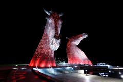 The Kelpies.jpg (___INFINITY___) Tags: 6d andyscott falkirk kelpies thehelix architect architecture canon darrenwright dazza1040 eos horse infinity light longexposure monument night red scotland statue