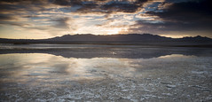Reflection (magnetic_red) Tags: sky sunset clouds reflection water mud mountains dramatic deathvalley americanwest alkali 3 step gnd